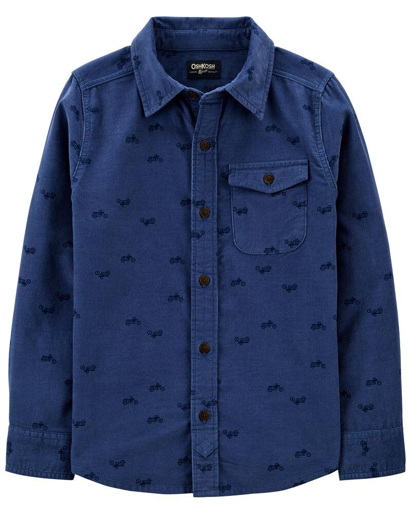 Indigo Print Button-Front Corduroy Shirt, , hi-res