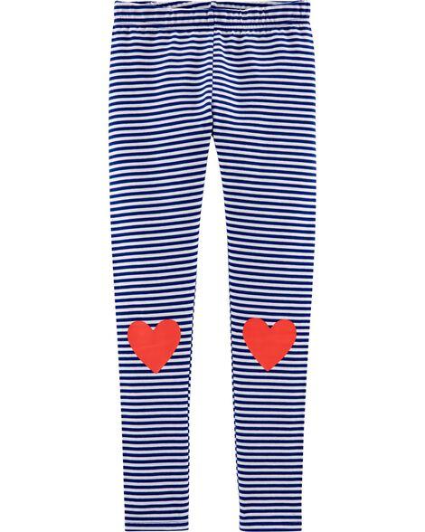 Striped Heart Jersey Leggings