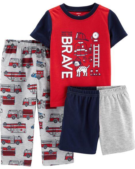 Pyjamas 3 pièces en polyester à pompier