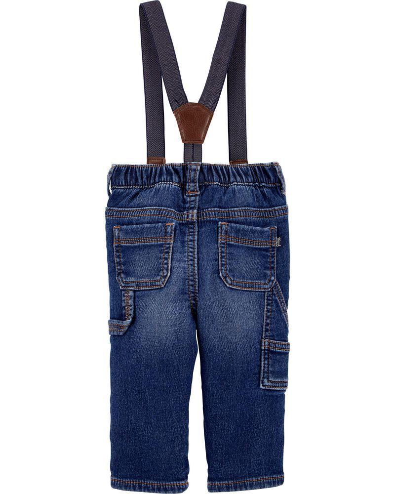 Knit Denim Suspender Jeans, , hi-res