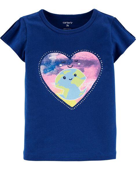 T-shirt en jersey à ouverture sur les épaules et cœur