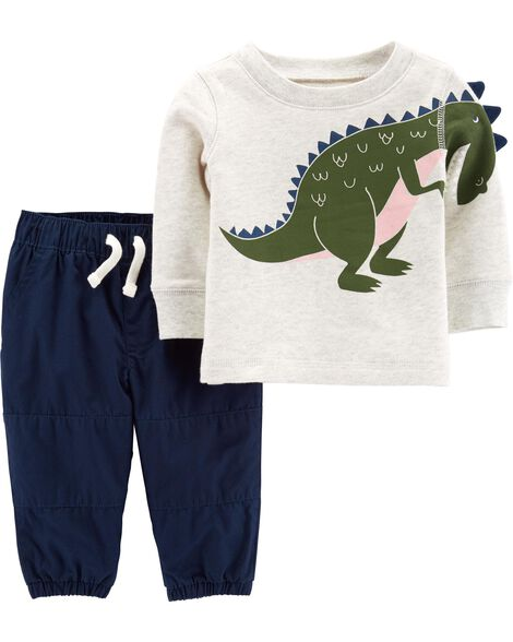 2-Piece French Terry Dino Top & Pant Set