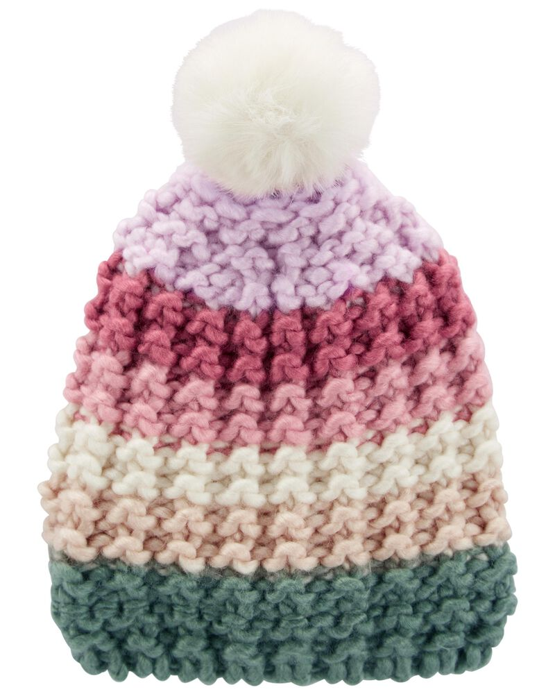 Chunky Knit Pom Pom Hat, , hi-res