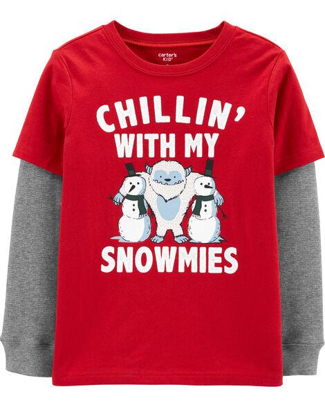 T-shirt de style superposé bonhommes de neige