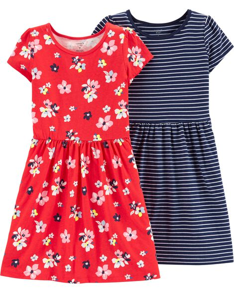 2-Pack Striped & Floral Jersey Dresses