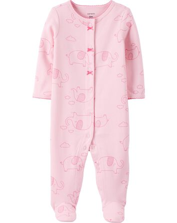 Elephant Snap-Up Cotton Sleep & Pla...