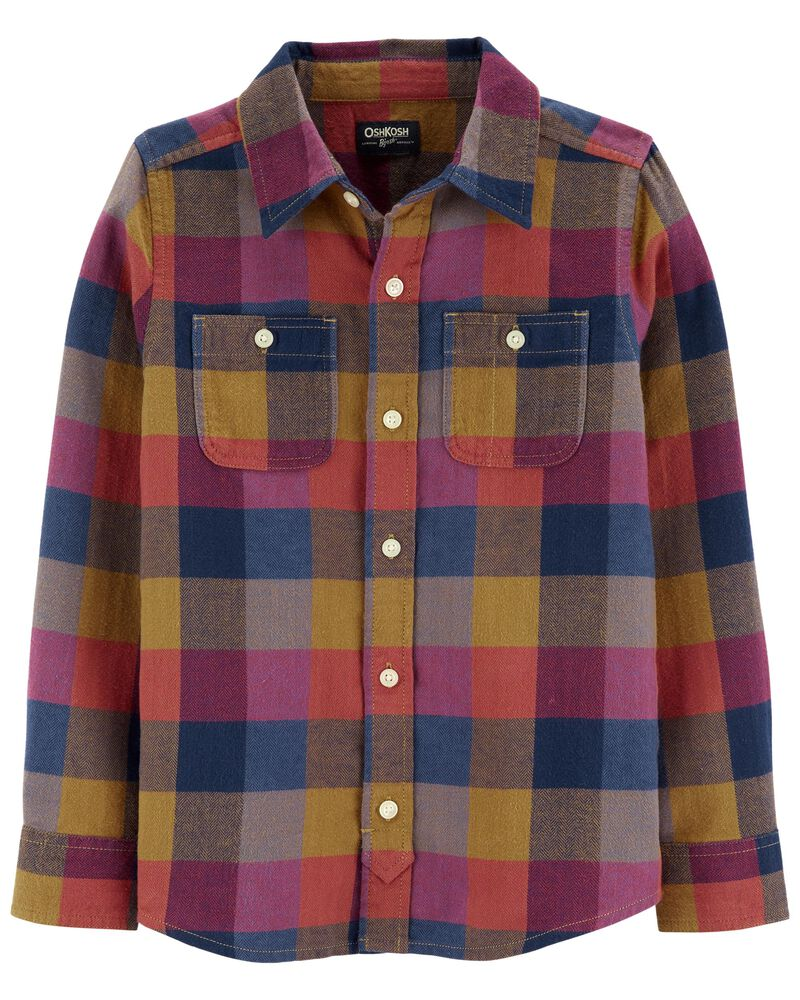 Plaid Woven Button-Front Shirt, , hi-res