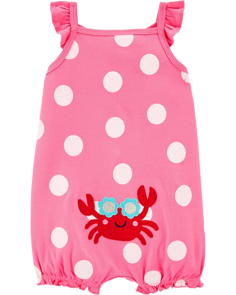 Crab Cotton Romper, , hi-res