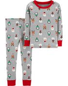 2-Piece Holiday Snug Fit Cotton PJs, , hi-res