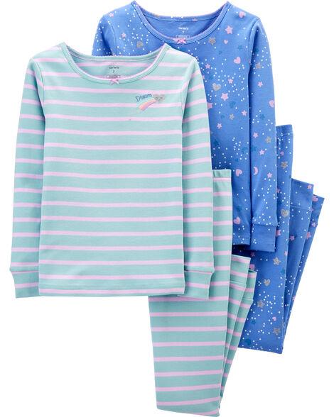 4-Piece Stars Snug Fit Cotton PJs