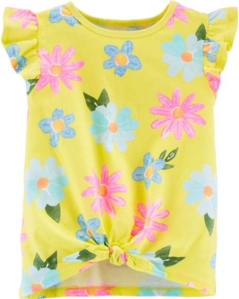 Floral Tie-Front Jersey Tee