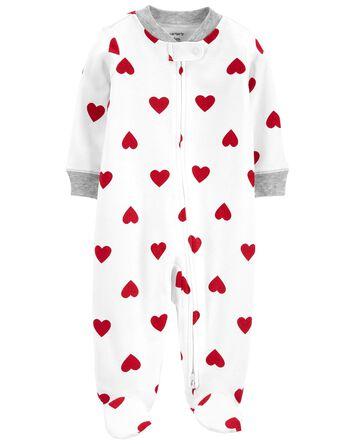 Heart 2-Way Zip Cotton Sleep & Play