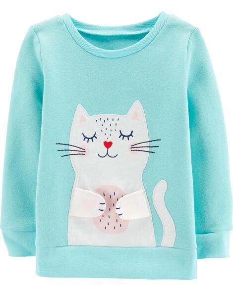 Fleece Kitty Peek-A-Boo Top