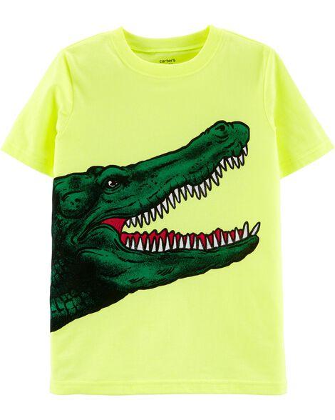 T-shirt en jersey à imprimé alligator fluo