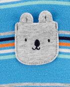 Grenouillère en coton à boutons-pression avec ours et rayures, , hi-res