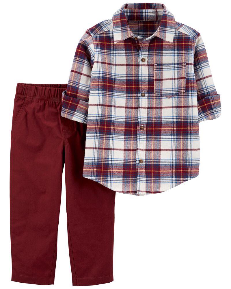 2-Piece Plaid Button-Front & Poplin Pant Set, , hi-res