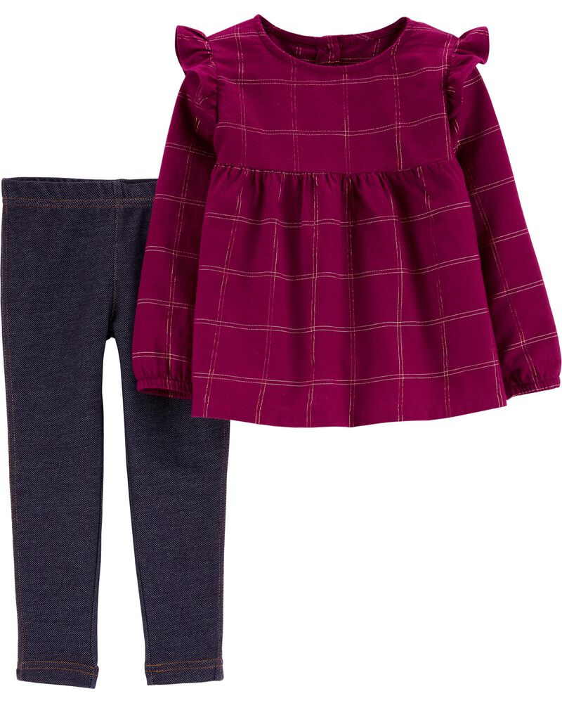 2-Piece Plaid Flannel Top & Jegging Set, , hi-res