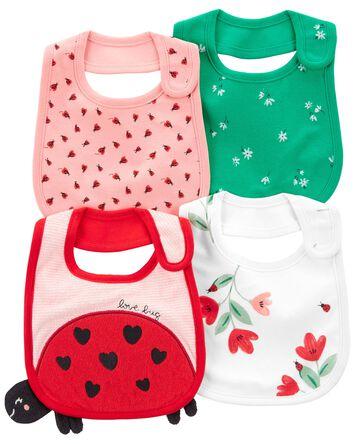 4-Pack Ladybug Teething Bibs