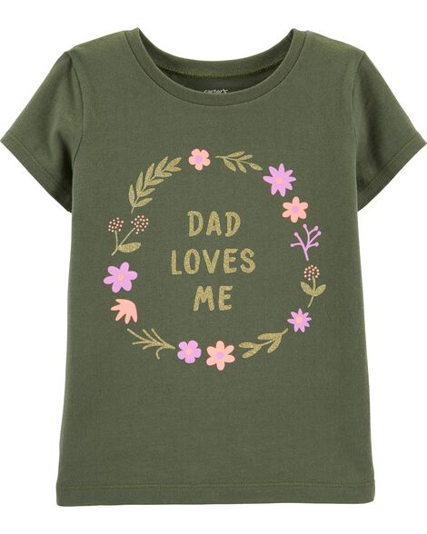 T-shirt en jersey scintillant Dad Loves Me
