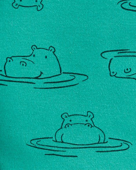 4-Piece Hippo Snug Fit Cotton PJs