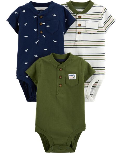 3-Pack Henley-Style Bodysuits