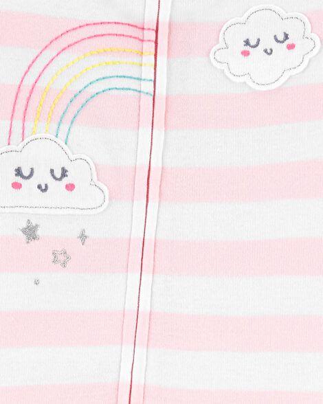 Pyjama 1 pièce sans pieds en coton ajusté motif nuage