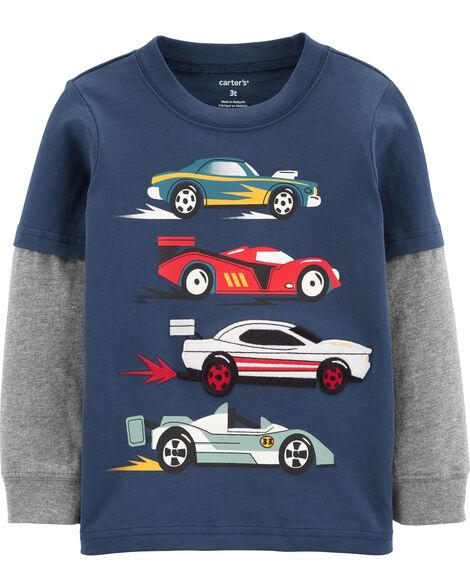 T-shirt en jersey de style superposé voiture de course