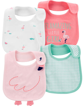 4-Pack Flamingo Teething Bibs