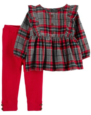 2-Piece Plaid Flannel Top & Pant Se...