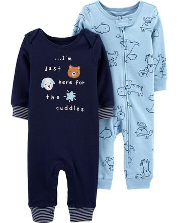 2-Pack Animal Jumpsuits