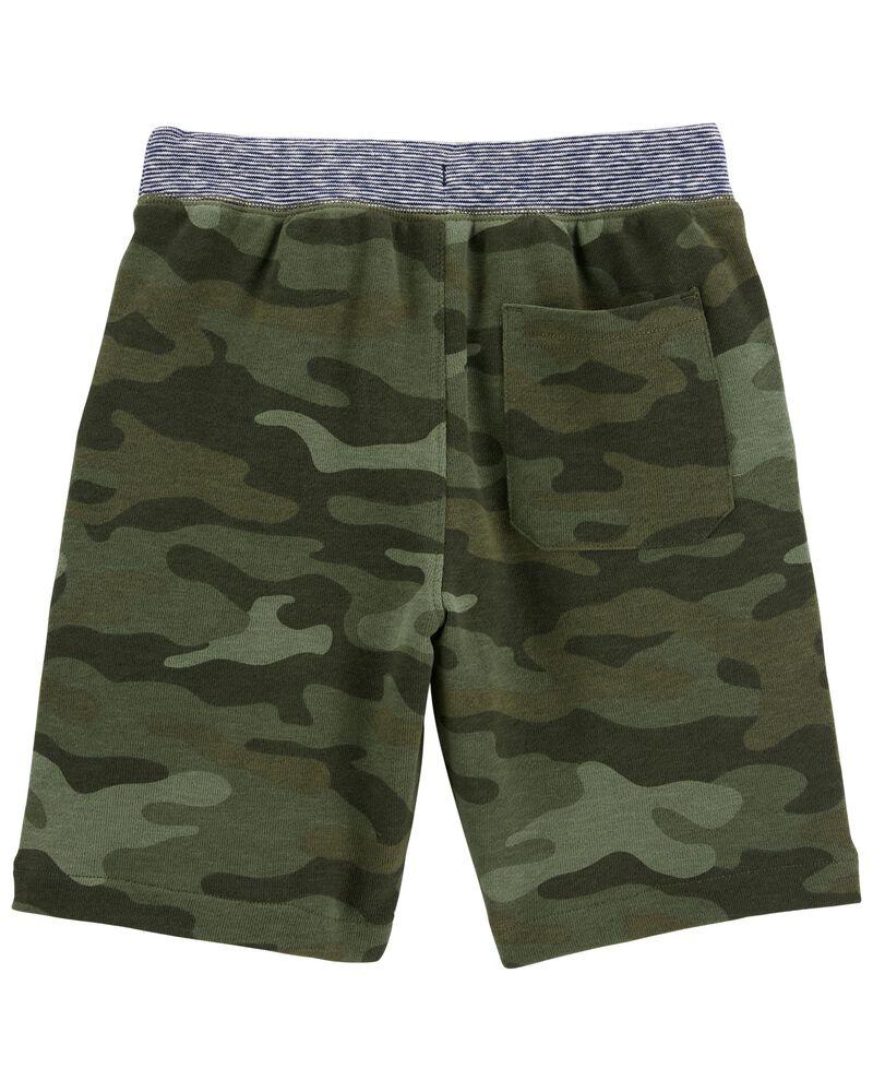 Short à enfiler en jersey bouclette camouflage, , hi-res