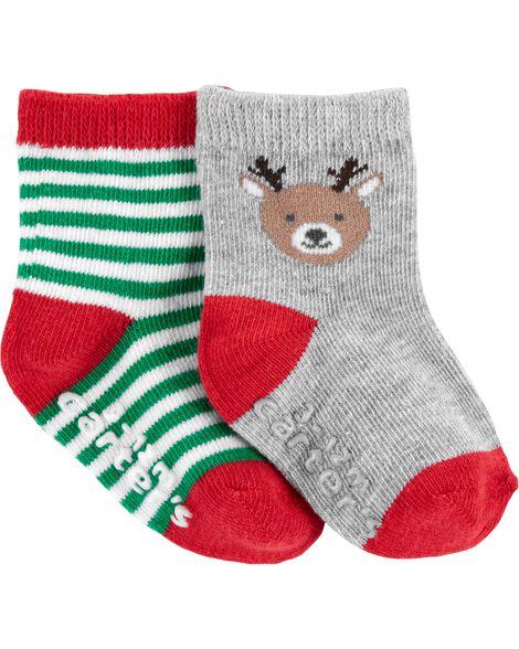 2 paires de chaussettes rennes des Fêtes