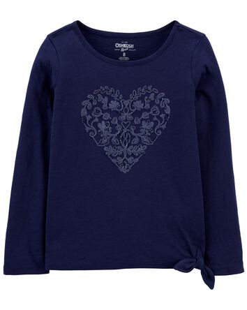 Tie-Hem Sparkle Heart Top