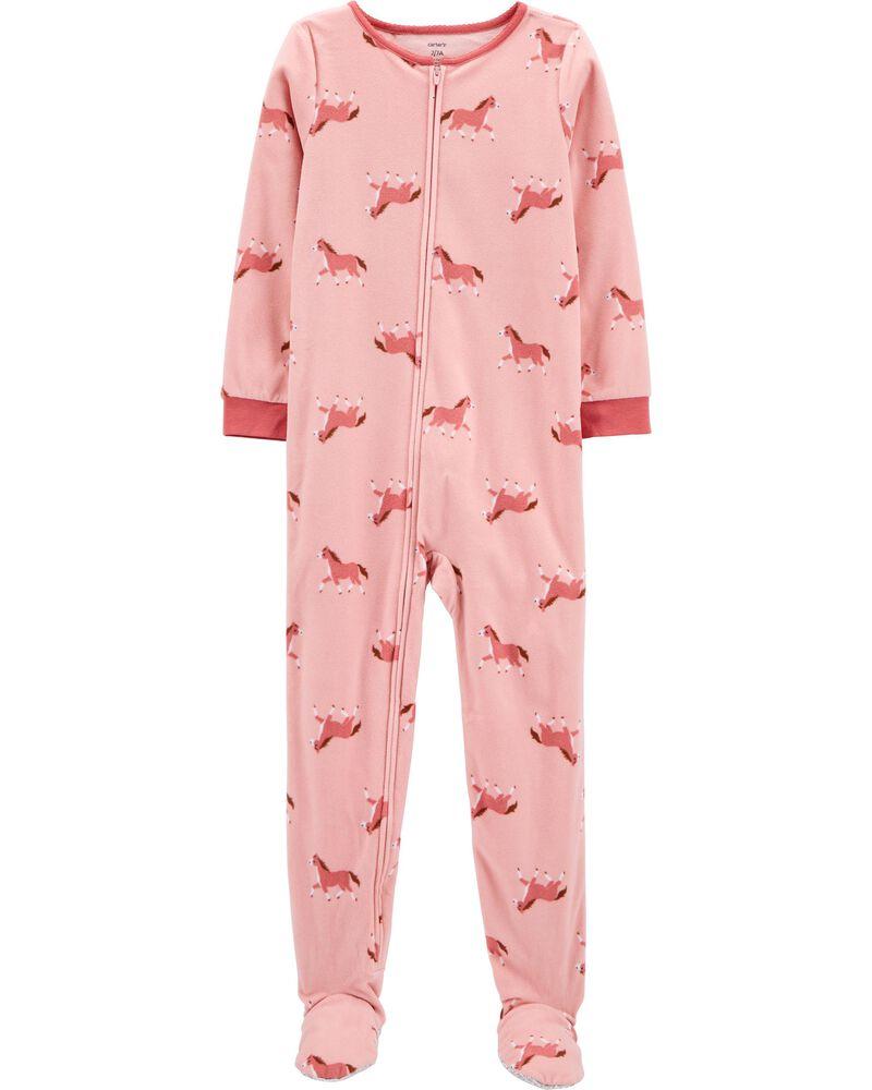 Pyjama 1 pièce à pieds en molleton motif cheval, , hi-res