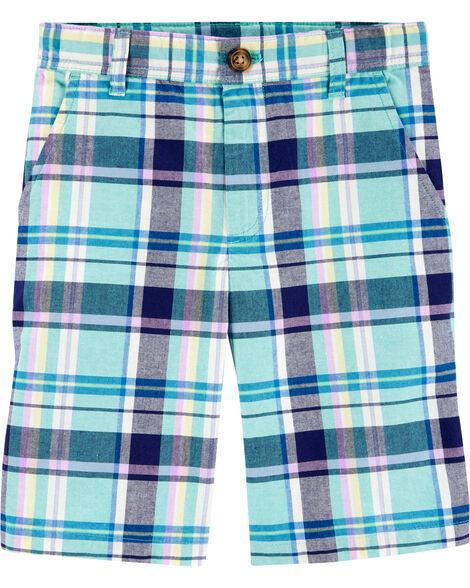 Plaid Flat-Front Shorts