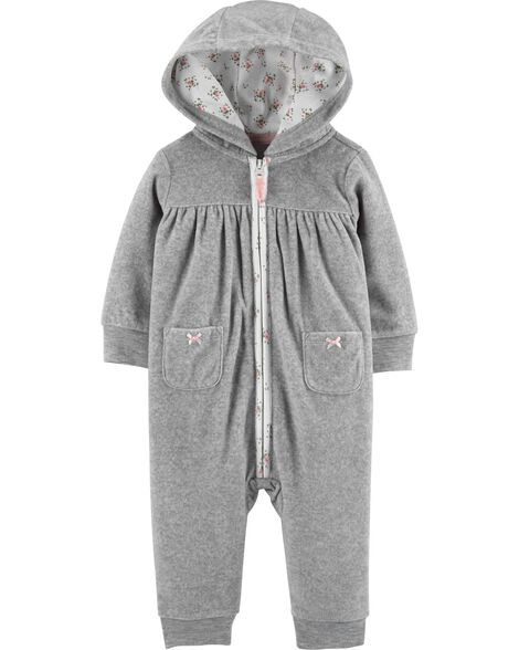 Hooded Zip-Up Fleece Jumpsuit