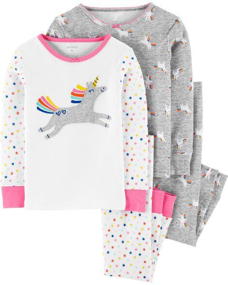 Pyjama 4 pièces en coton ajusté à licornes