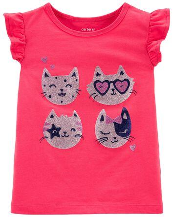 T-shirt en jersey à imprimé de chat...