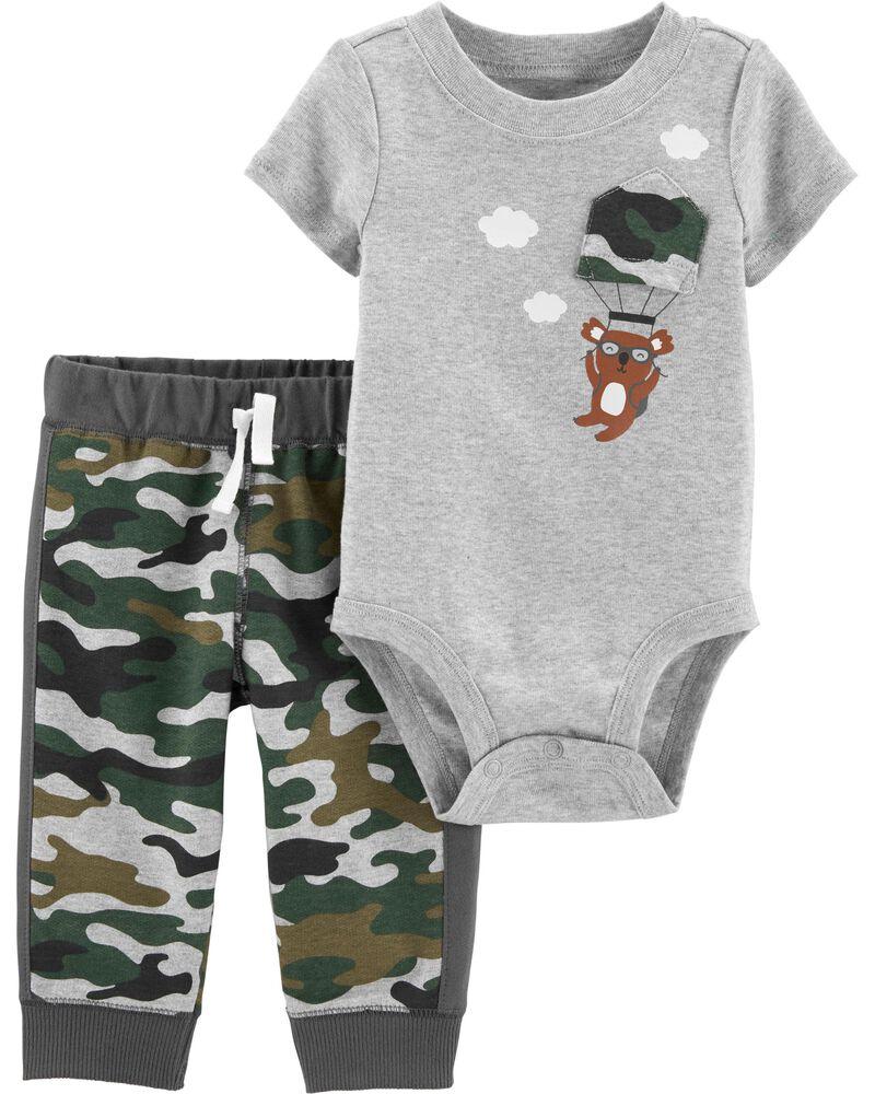 2-Piece Camo Koala Bodysuit Pant Set, , hi-res