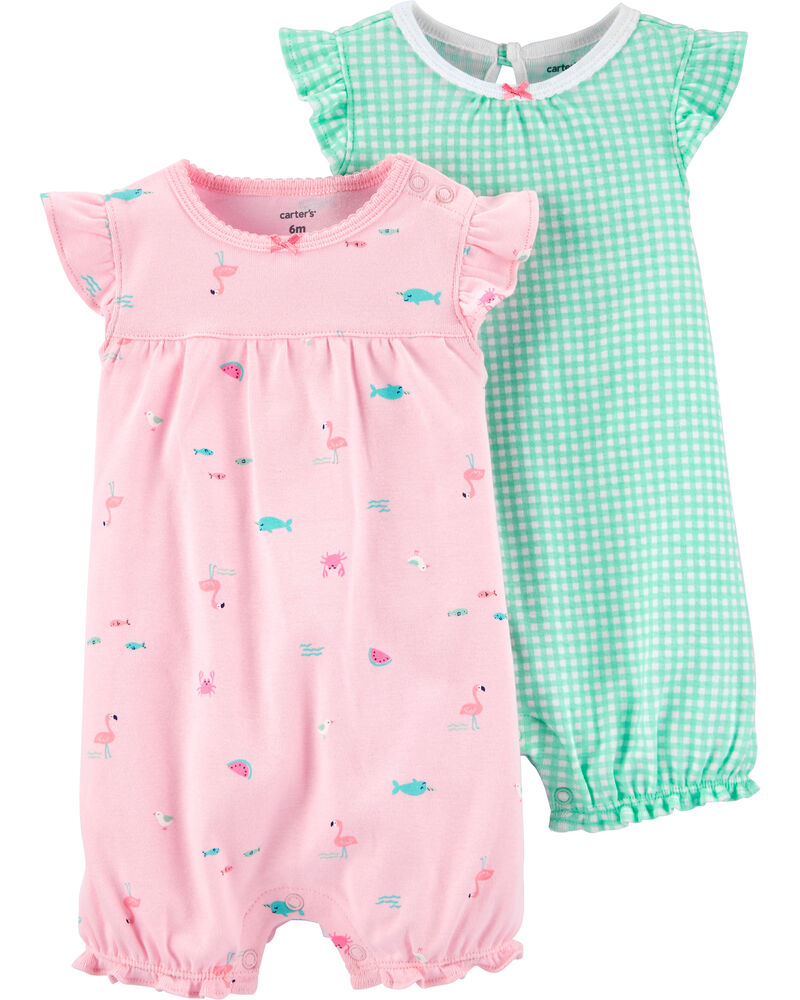 2-Pack Checkered & Flamingo Rompers, , hi-res