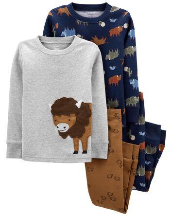 Pyjama 4 pièces en coton ajusté buf...