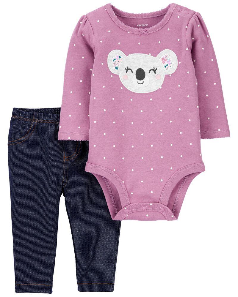 2-Piece Koala Bodysuit Pant Set, , hi-res