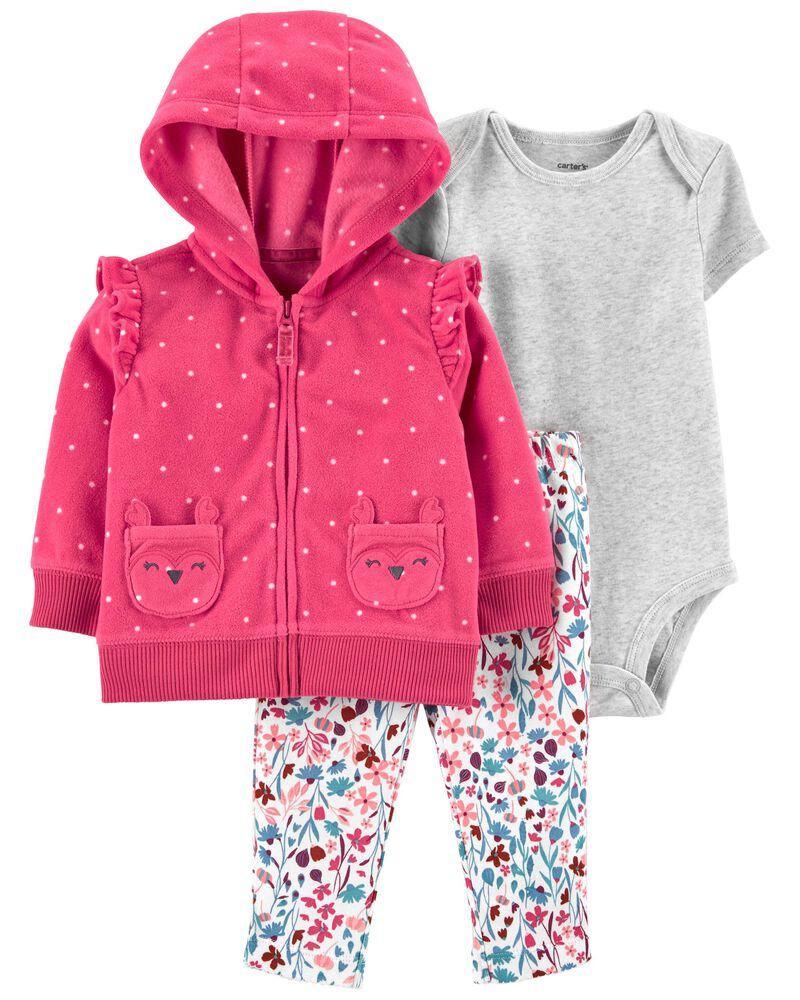 3-Piece Fleece Little Jacket Set, , hi-res