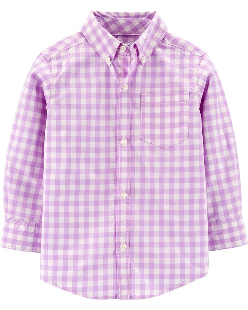 Chemise boutonnée en popeline à motif vichy, , hi-res