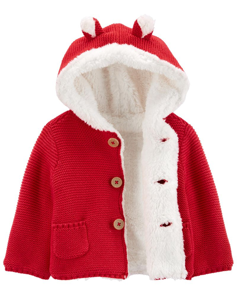 Sherpa Hooded Cardigan, , hi-res