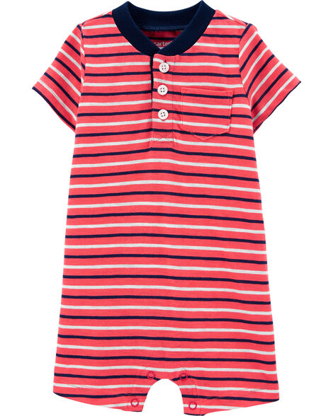 Striped Slub Jersey Romper