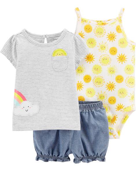 Ensemble 3 pièces chemise et short à soleil