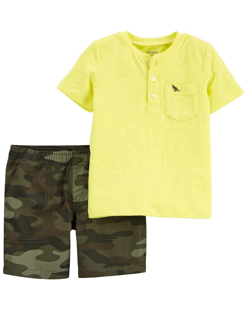 2-Piece Henley Tee & Short Set, , hi-res