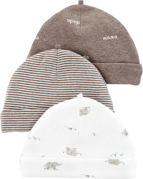 3-Pack Baby Caps