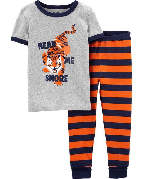 Pyjama 2 pièces en coton ajusté motif tigre